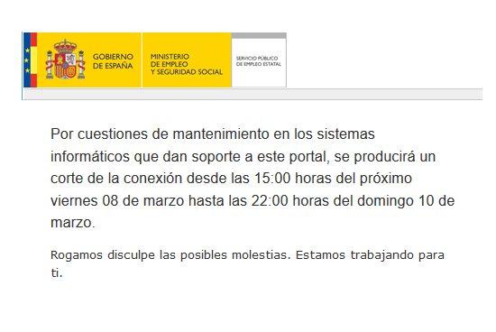 Mensaje informativo en la web del SEPE por mantenimiento