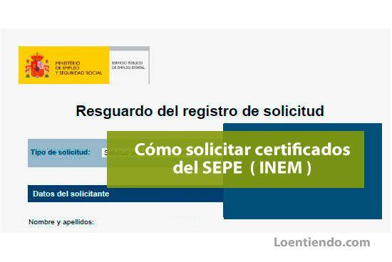 Cómo solicitar certificados del SEPE INEM