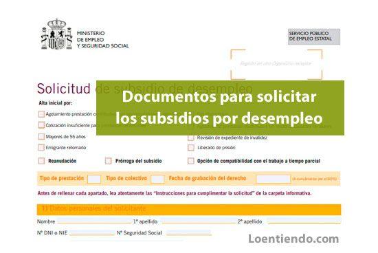 Documentación para solicitar los subsidios por desempleo