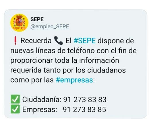 Nuevos teléfonos de información del SEPE