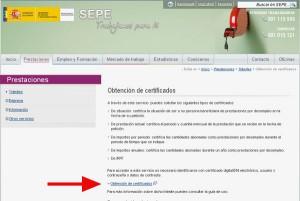 paso 1 pedir certicado en el SEPE INEM
