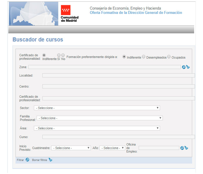 Buscador de cursos de formación para desempleados en la Comunidad de Madrid