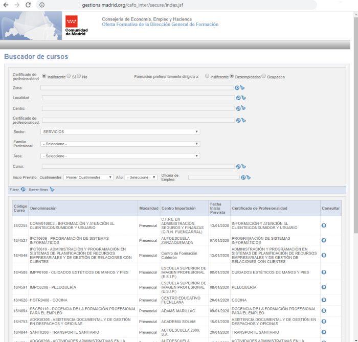 Ejemplo de buscador de cursos de formación para desempleados  de la Comunidad de Madrid