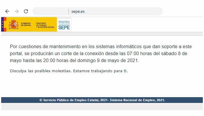 Tareas de mantenimiento en la web del SEPE