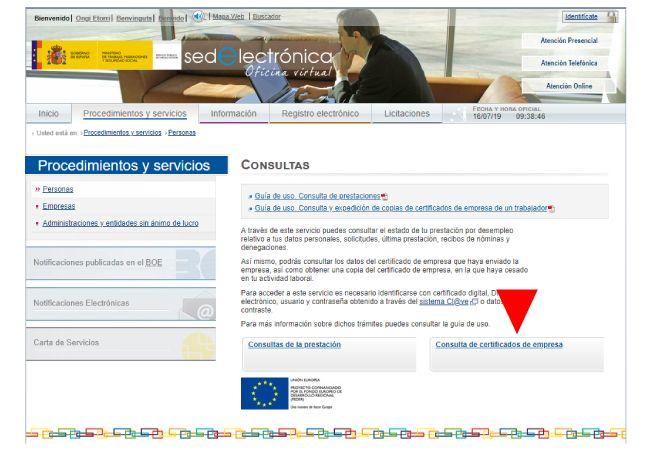 Acceso al certificado de empresa desde la web del SEPE