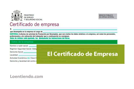 El certificado de empresa