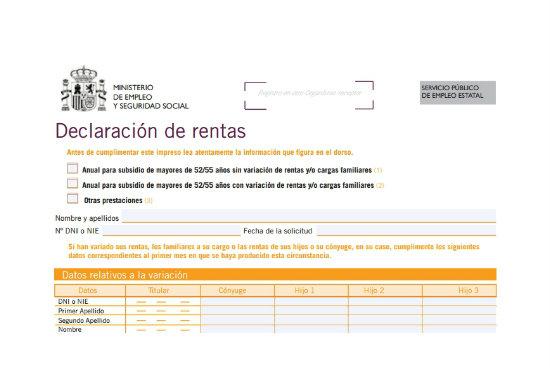 declaracion anual de rentas subsidio mayores 52 y 55