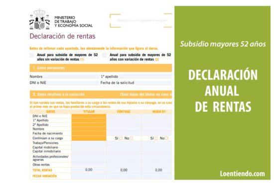 Declaración anual de rentas en el subsidio de mayores de 52 años