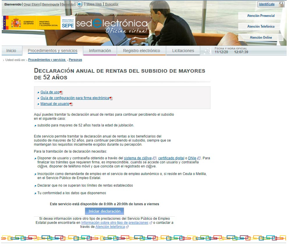 Sede electrónica SEPE declaracion anual de rentas