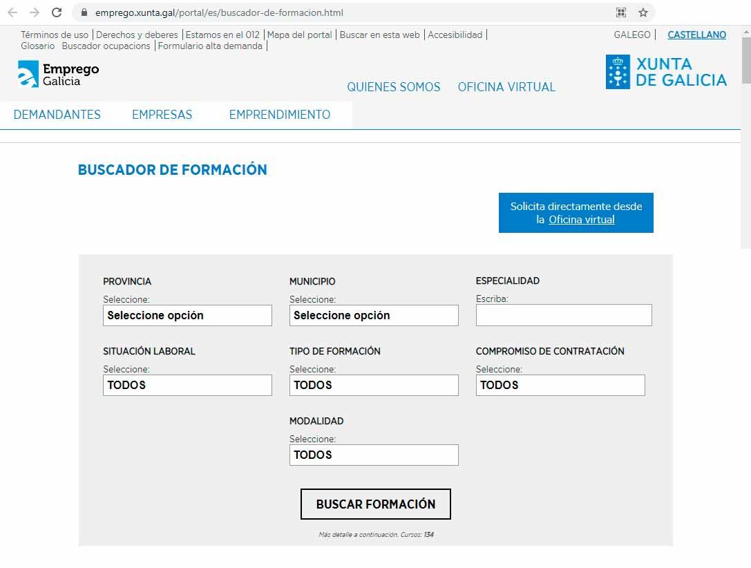 Buscador de cursos de formación en Galicia