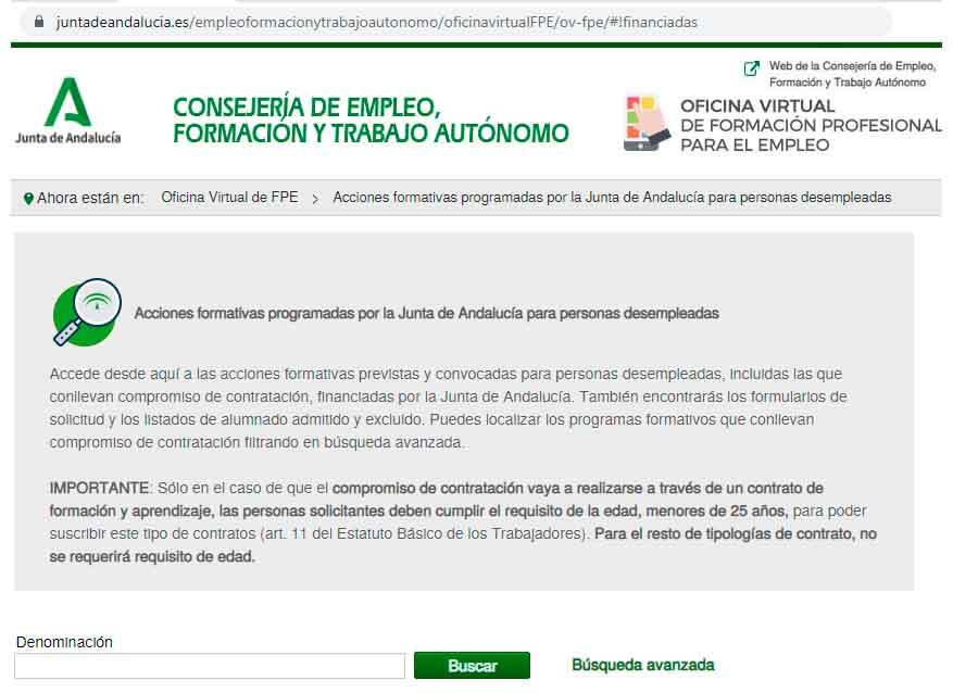 Buscador de cursos de formación en Andalucía
