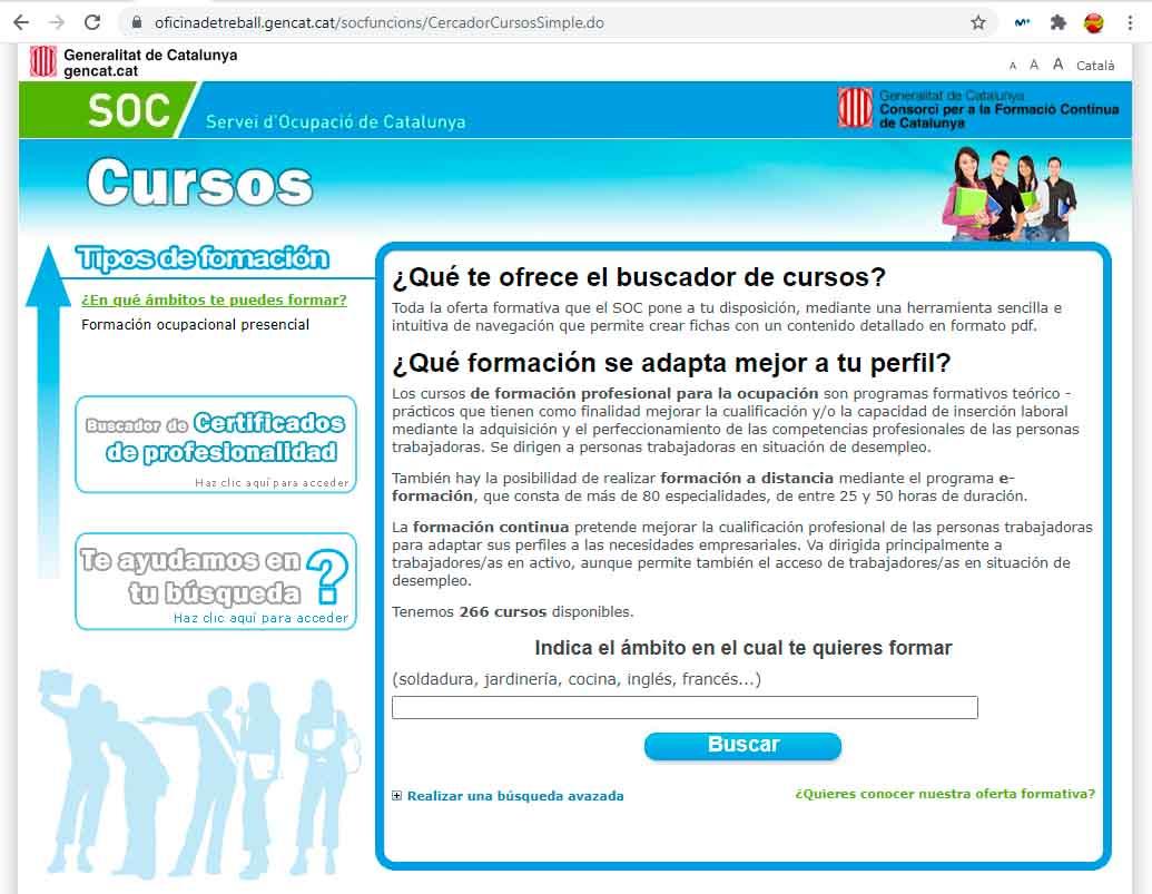 Buscador de cursos del INEM en Cataluña