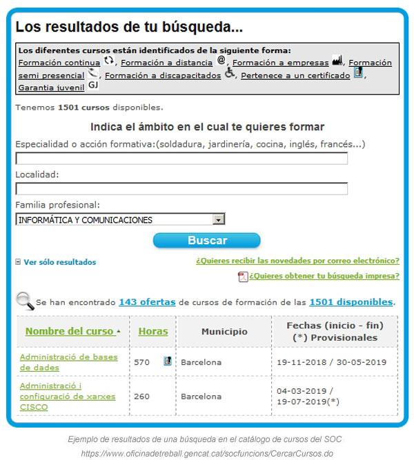 Buscador de cursos del SOC para desempleados en Cataluña