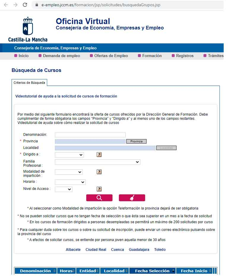 Buscador cursos INEM CASTILLA LA MANCHA