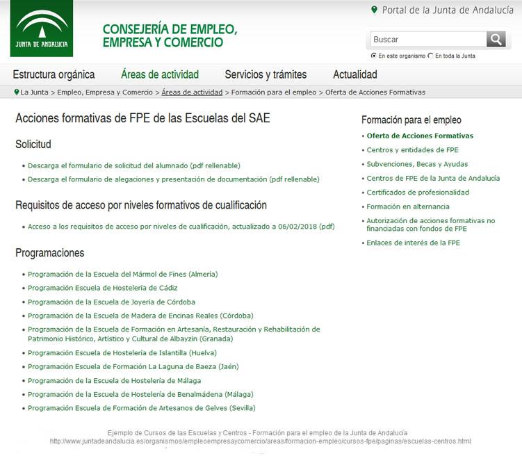 Programación de Cursos y Talleres en Andalucía