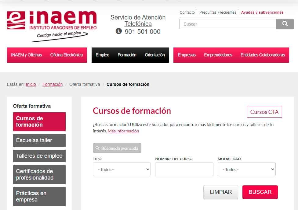 Buscador cursos de formación Aragón