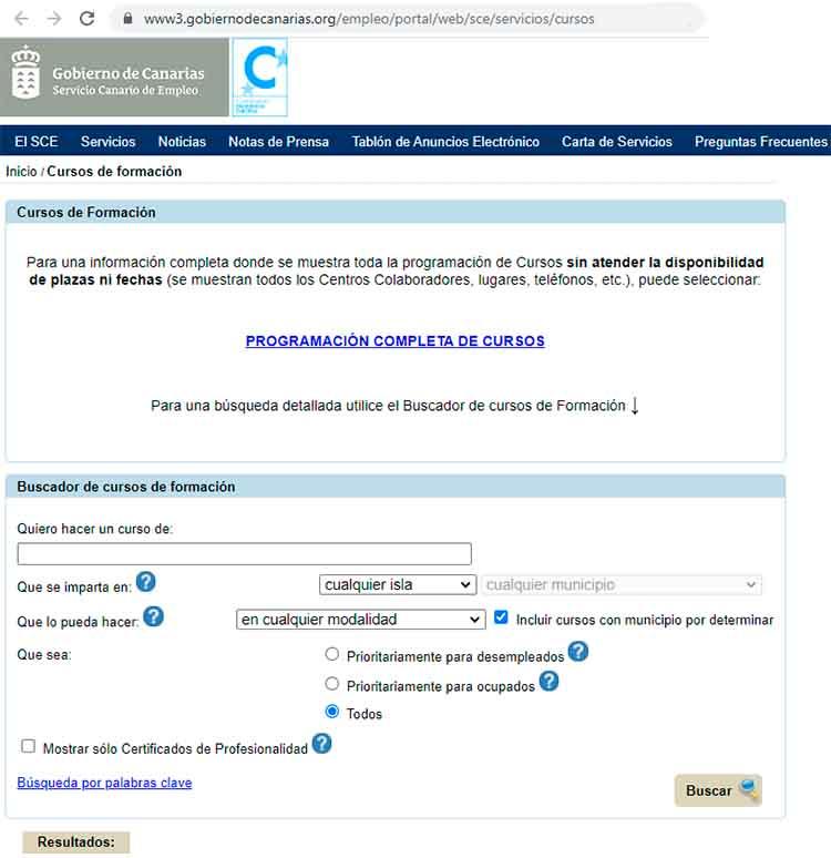 Buscador de cursos del INEM en Canarias