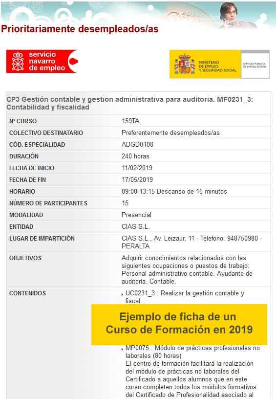 Ejemplo de ficha de Curso de Formación en Navarra