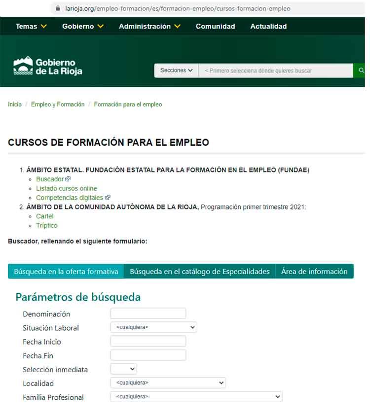 Buscador de cursos INEM LA RIOJA