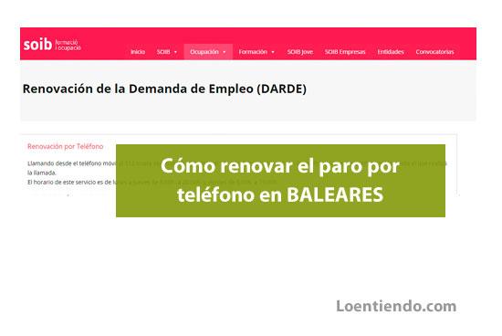 Números para renovar el paro por teléfono en Baleares
