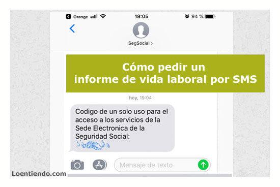 Solicitar el Certificado de VIDA LABORAL por SMS