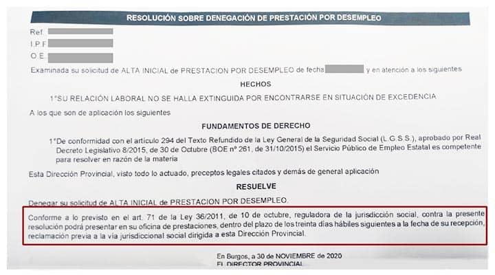 Ejemplo resolución SEPE plazo 30 días hábiles para presentar reclamación previa