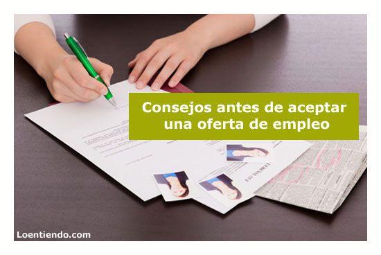 Consejos antes de aceptar una oferta de empleo