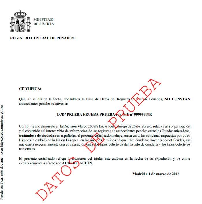 Modelo de certificado de antecedentes penales