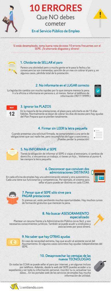 Diez errores que no debes cometer en el INEM SEPE , el Servicio Público de Empleo