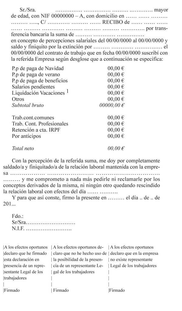 Ejemplo Pr Ctico De Finiquito Modelo Y Plantillas