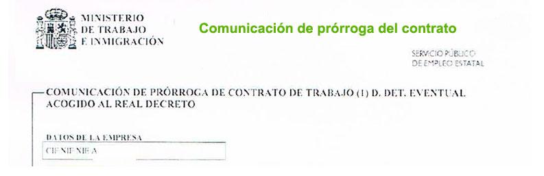 Comunicación de prorroga de contrato
