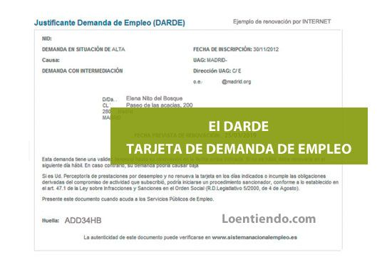 Darde. Documento de demanda de empleo