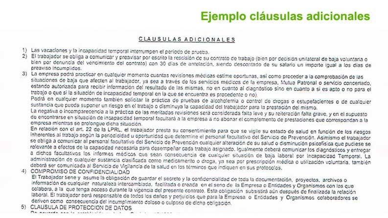 Ejemplo de cláusulas adicionales