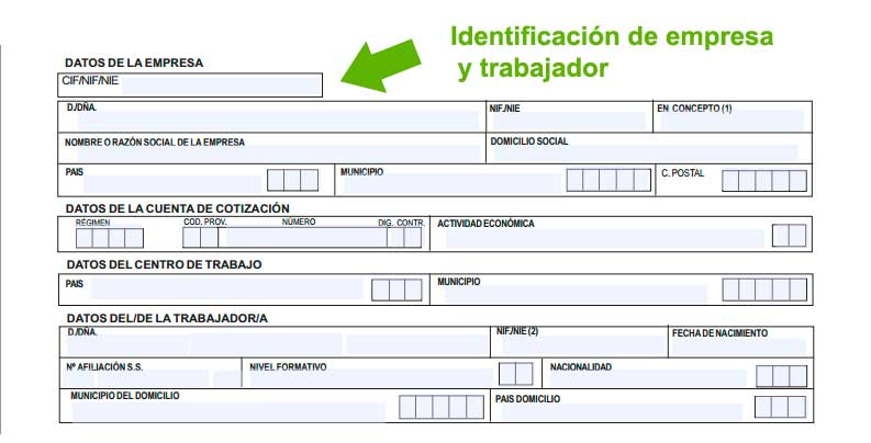 Identificación de empresa y trabajador