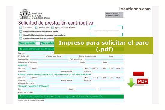 Impreso para pedir el paro (pdf) presatación contributiva