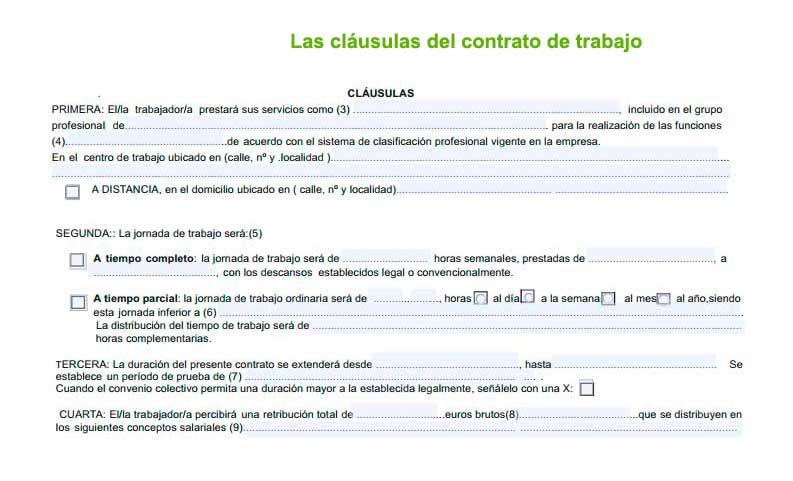 Las cláusulas generales del contrato de trabajo