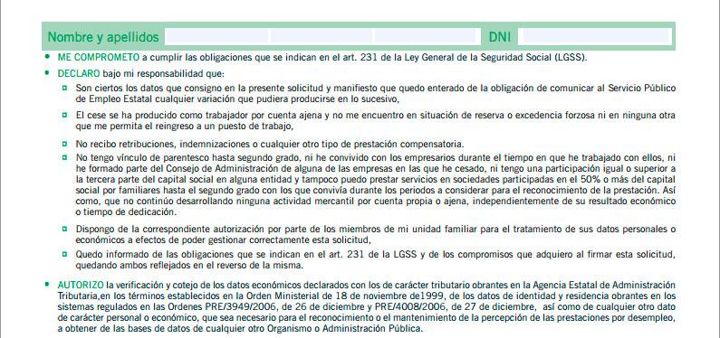 Compromisos y autorizaciones de la solicitud de prestación por desemepleo
