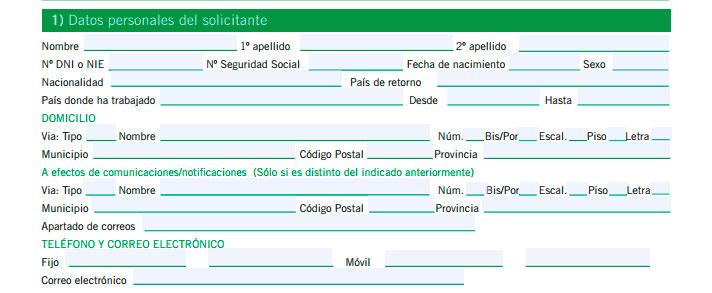 Segundo paso para cumplimentar el impreso de solicitud de prestaciones del SEPE