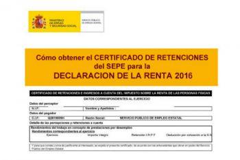 El Certificado de retenciones IRPF del paro