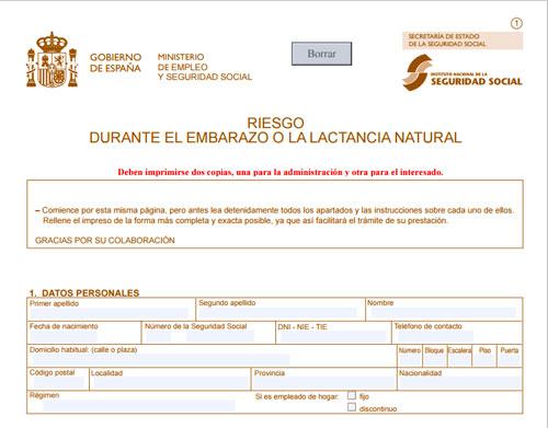 Impreso de solicitud de la prestación por riesgo en el embarazo