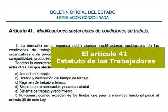 El artículo 41 del Estatuto de los Trabajadores