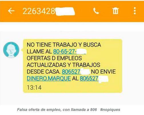 Ejemplo de falsa oferta empleo fraude telefono 806