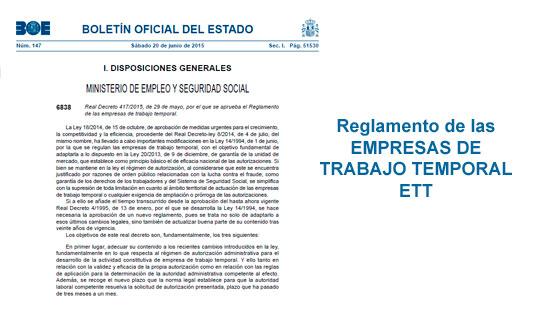 Reglamento de las Empresas de Trabajo Temporal ETT