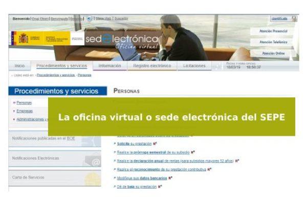 La SEDE electrónica del SEPE. Trámites online