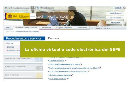 Oficina virtual o sede electrónica del SEPE