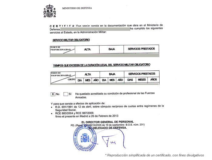 Certificado tiempo servicio militar para calculo jubilación