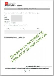 Informe de periodos de inscripcion como demandante de empleo ejemplo