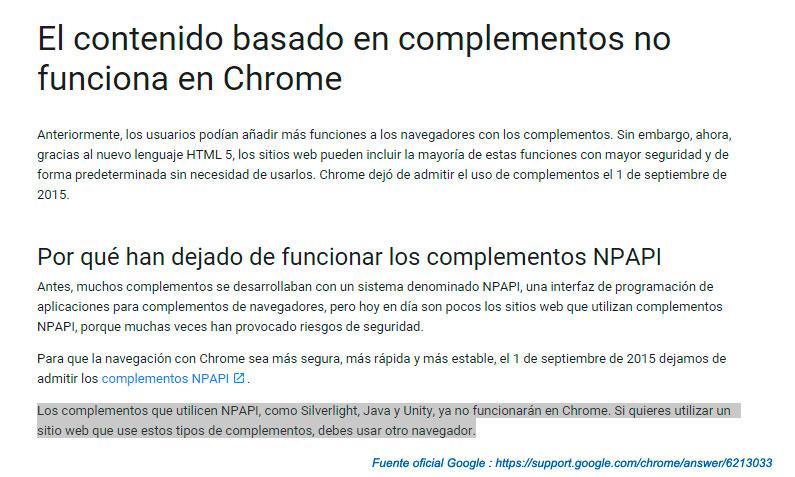 errores Google Chrome java