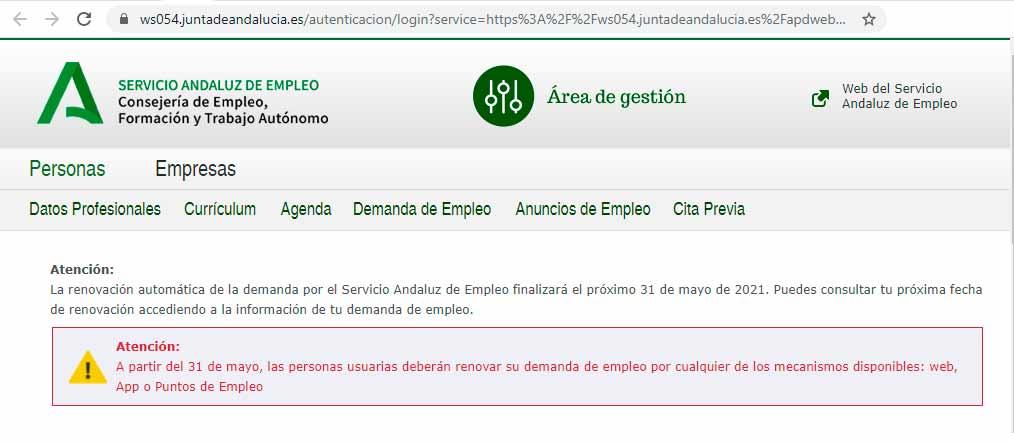 Renovación automática del paro en Andalucía hasta el 31 de mayo de 2021