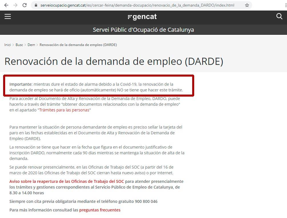 Renovación automatica del paro en Cataluña